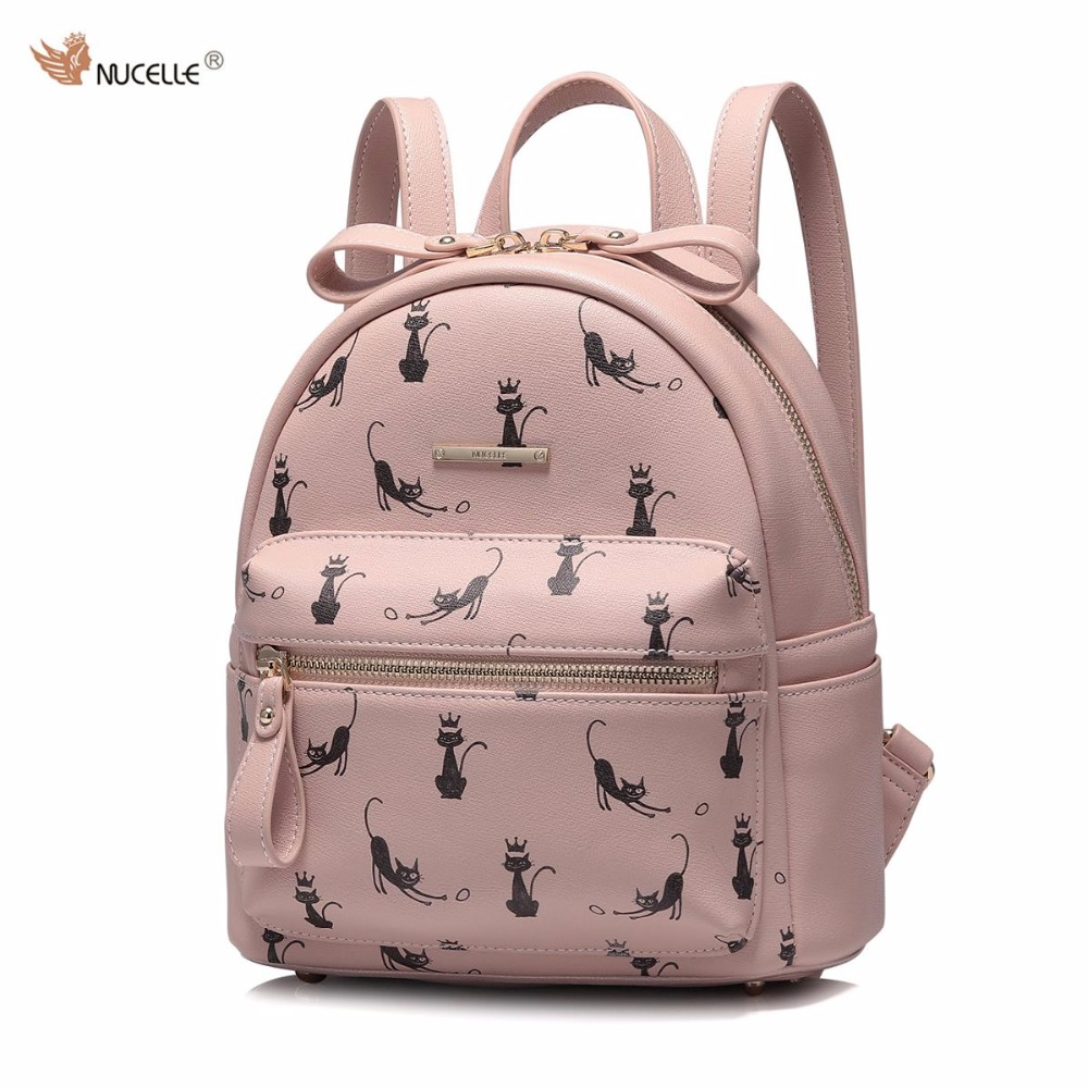 New NUCELLE Brand Design Fashion Cat Printing Bow PU Leather Women's Feminine Backpack Ladies Girls School Travel Shoulders Bags