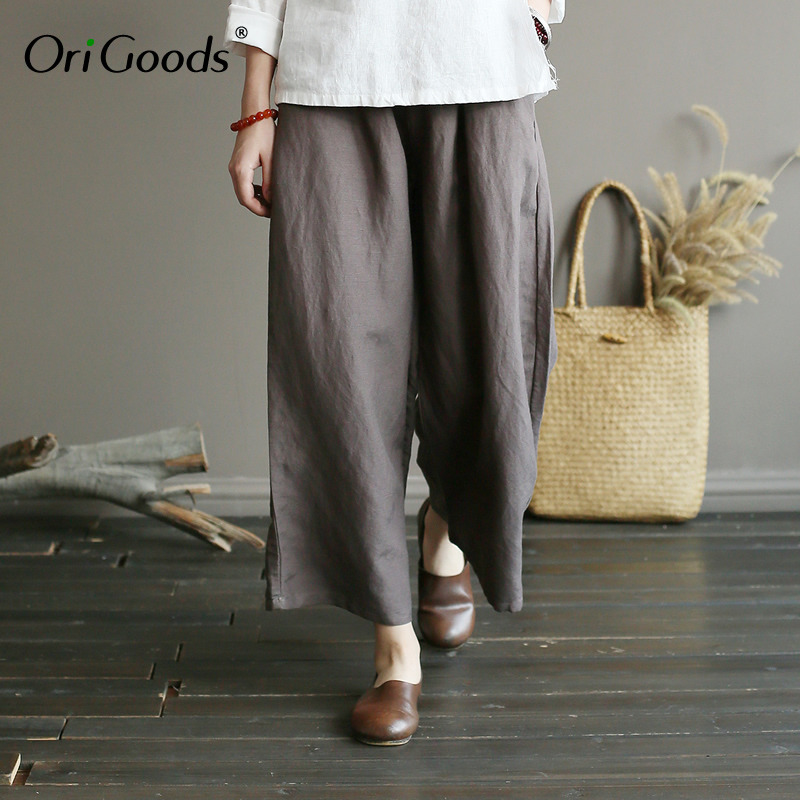 OriGoods 2019 Summer New   Wide     leg     Pants   Women Solid Black Elastic waist   Wide     leg   Trousers Cotton Linen Plus size   Pants   A359