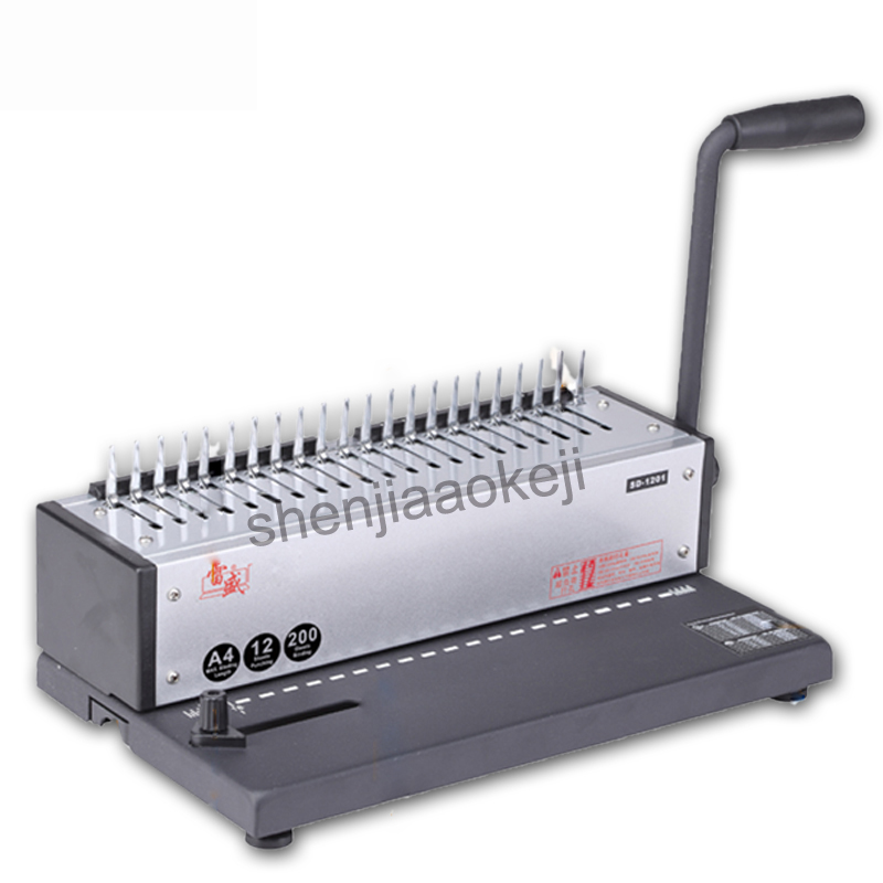 SD-1201 Office dedicated binding machine Manually Binding Machine Comb-type/clamp folder of a4 paper Bookbinding Machine 1pc hp5016 manual a4 paper book binder comb wire binding machine paper folder binding machine