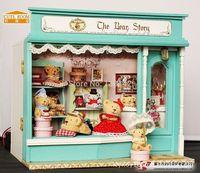 Tienda de bricolaje casa de muñecas de madera miniatura dollhouse Europea Oso tienda Modelo de Construcción de juguete Muebles E-003