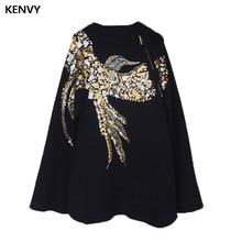 Бренд KENVY, Высококачественная роскошная женская мода, ручная вышивка, вышивка, английский Орел, Вязаный плащ, шаль, свитер, пальто