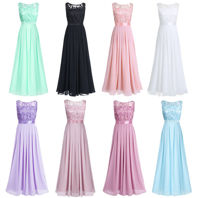 TiaoBug Women Ladies Sleeveless Lace Embroidered Chiffon Bridesmaid Dress Long Party Pageant Wedding Bridal Formal Summer Dress