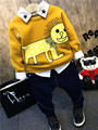 thick baby clothes winter children thick boys blouse tiger print cute boys hoodies yellow cotton infatil outfits suit for 2-Y