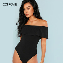 COLROVIE Black Foldover Off The Shoulder Ribbed Knit Skinny Sexy Bodysuit Women 2019 Summer Elegant Office Ladies Bodysuits(China)