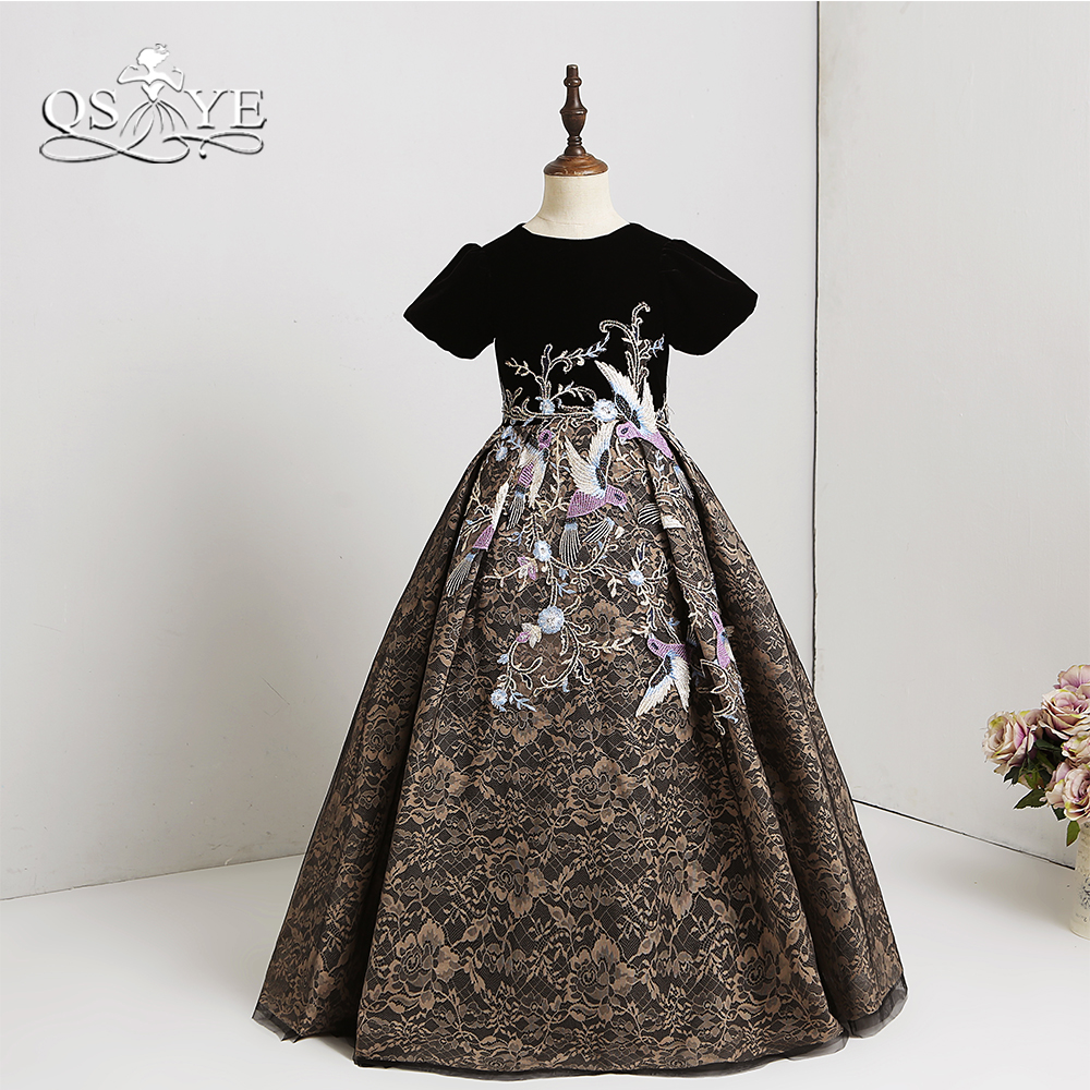 QSYYE 2018 Arabic   Flower     Girl     Dresses   Short Sleeves 3D Floral   Flower   Lace Floor Length   Girls   Prom   Dress   Pageant Gown Custom Made
