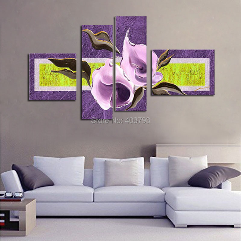 Elegant Style Hand-painted Living Room Restaurant Frameless Oil Painting Decorative Flower Picture Modern Abstract