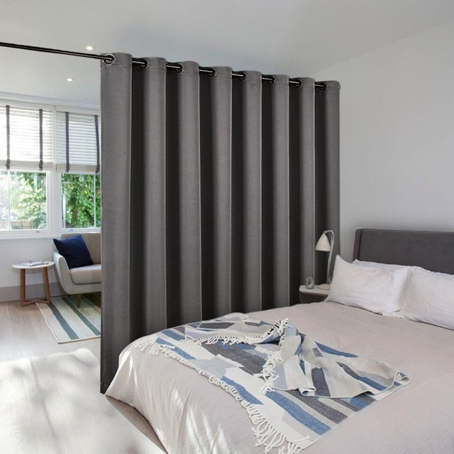 Nicetown Solid Lightproof Room Darkening Divider Curtain Total Privacy Ready Made For Cafe Office