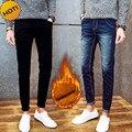 New 2017 winter thicken thelmal add wool Slim Fit Warm Jeans Men Pencil Pants Student teenager Men biker jeans 28-34