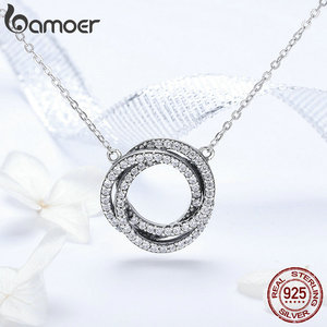 Image 4 - BAMOER colliers minimalistes en argent Sterling 925 pour femmes, ronds et élégants, pendentifs en CZ, SCN259