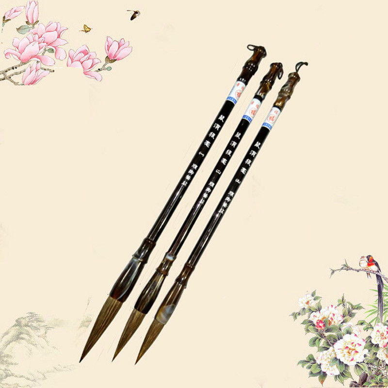 Exquisite Rat hair Chinese Calligraphy Brushes Large Middle Small Regular Script Writing Brushes Beginner's Painting Supplies chinese script dictionary