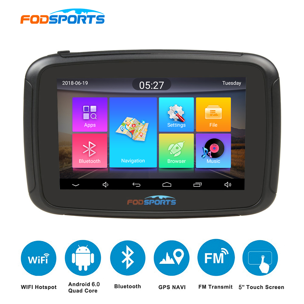 Fodsports 5 inch motorcycle navigator android 6 0 wifi 16G moto car gps ipx7 waterproof FM