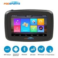 Fodsports 5 дюймов moto rcycle навигатор android 6,0 wifi 16 г мото Автомобильный gps ipx7 водостойкий FM moto rbike навигация 3000 мАч батарея
