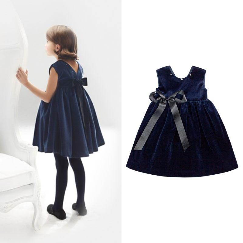 Girls Deep V collar High waist Big bow Navy Velvet princess clothes striped deep v neck bow jumpsuit