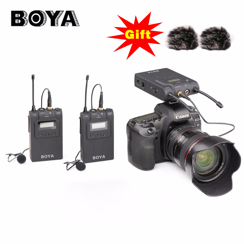BOYA BY WM8 UHF Dual Wireless Lavalier Microphone Systerm Lav Interview Mic 2 Transmitters & 1 Receiver for DSLR Video Camera