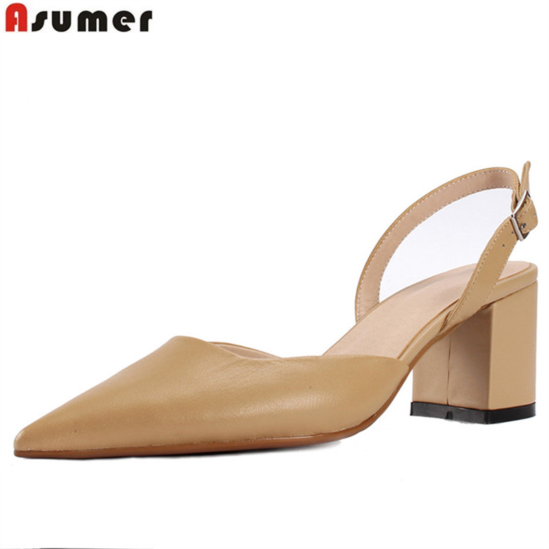 ASUMER black 2018 spring summer shoes woman pointed toe square heel pumps women shoes elegant high heels shoes genuine leather