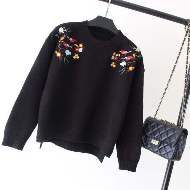 Women Flower Sweater Ladies Fashion Vintage Pullovers Knitted Floral Embroidered Sweaters 2017 Spring Winter Knitwear Tops 0708