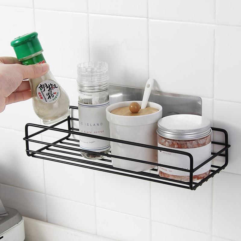 Black Bathroom Shelf Kitchen Wall Shelves Shower Basket Storage Rack Towel Bar Robe Hooks Bathroom Accessories-LB88