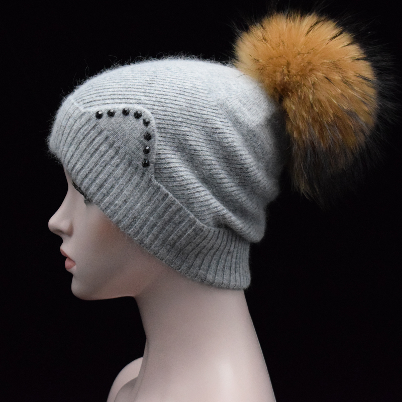 2017 Winter Autumn Pom Pom Beanies Hat Women Knitted Wool Skullies rhinestone cute ear Cap 22cm Real Raccoon Fur Pompom Hats skullies beanies newborn cute winter kids baby hats knitted pom pom hat wool hemming hat drop shipping high quality s30