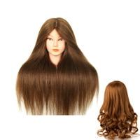New Golden Hair Training Head Human Hair 100% Mannequins Dolls Professional Styling Head Nice Mannequin Head
