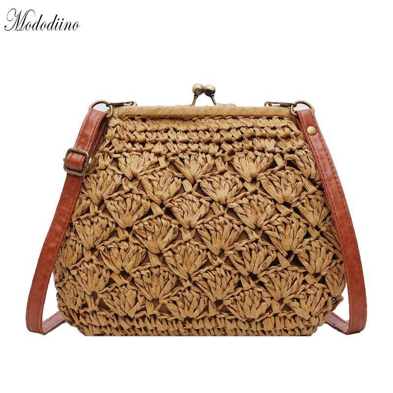 e8923e1b48997 Mododiino Female Vintage Straw Beach Rattan Bags Lady Handbag ...