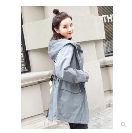 Pare brise femmes mi long coréen printemps et automne vêtements 2019 nouveau Style étudiant veste petit enfants chapeau manteau-in Trench from Mode Femme et Accessoires    3
