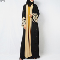 2019 Black Pearls Kaftan Abaya Dubai Turkish Islamic Muslim Dress Abayas for Women Qatar Oman Jilbab Robe Caftan Clothing
