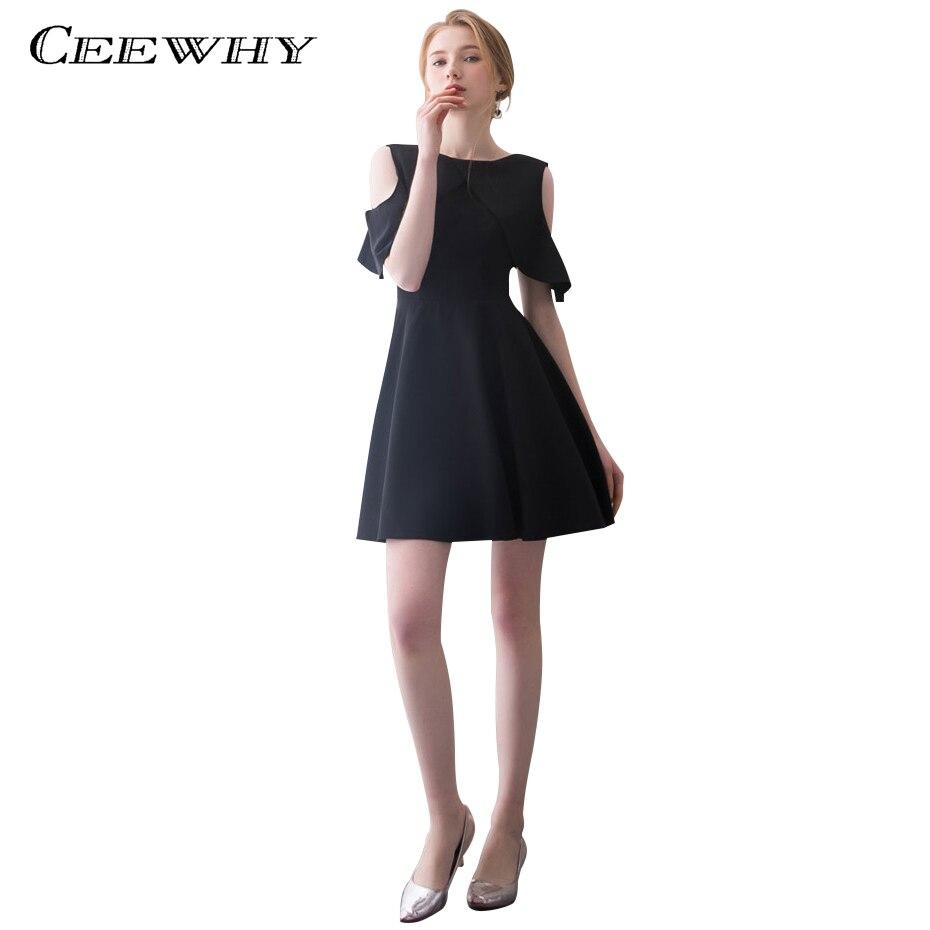 CEEWHY Ruffle Little Black   Dress   Elegant Short Party   Dress   for Women Vestido   Cocktail     Dresses   A-Line Graduation   Dresses