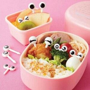 10PCs/ Bag Plastic Fruit Toothpick Eye Cartoon Forks For Children Bento Decorative Tableware Food Picks