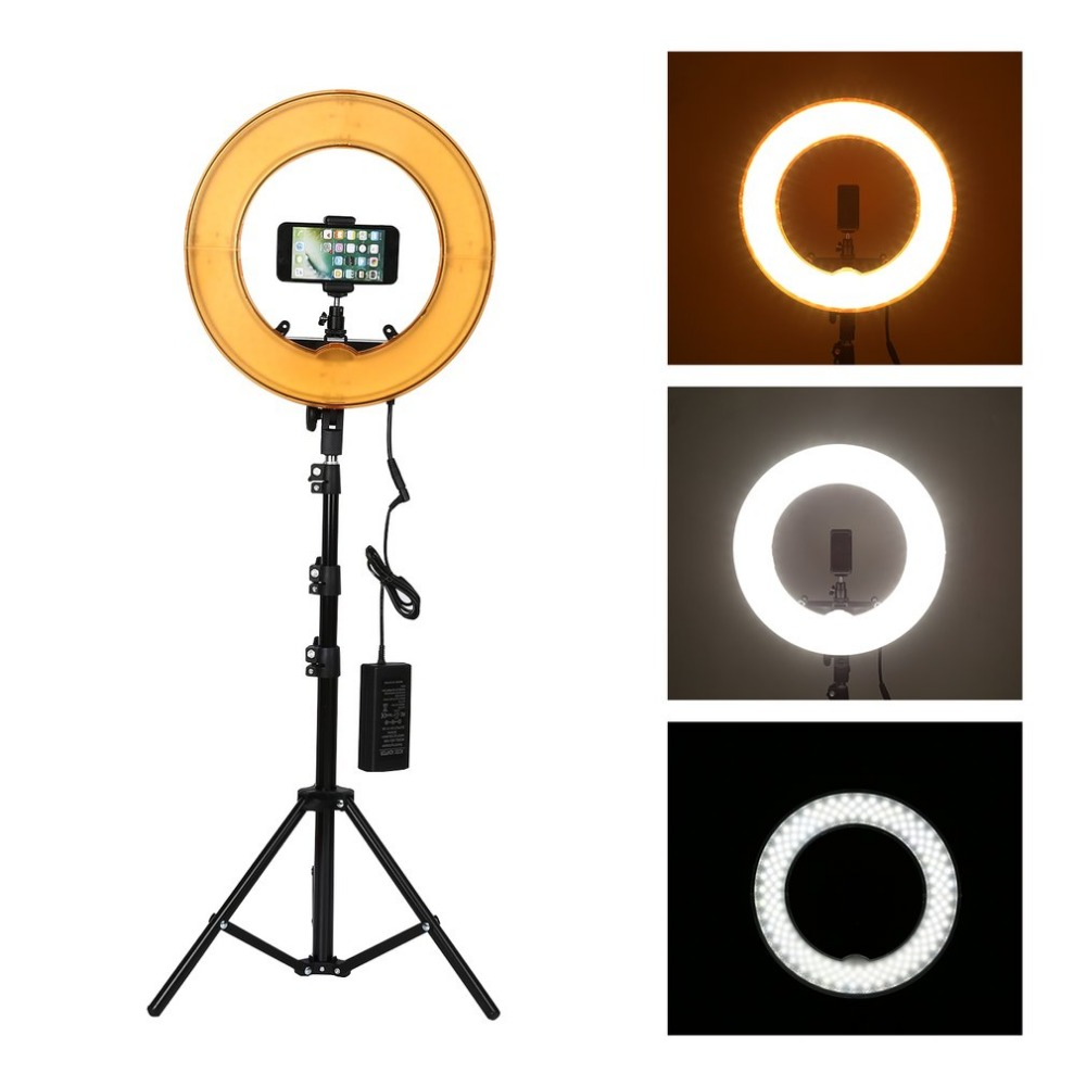 ONLENY 12 pouces anneau lumière Dimmable bicolore LED anneau lumière et trépied Studio lampe annulaire photographie éclairage Studio caméra Photo