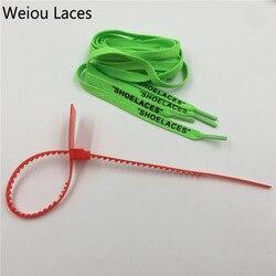 Weiou Quente LAÇOS Single Layer Laços Planas Com Zip Tie Para Substituição Off White Os Dez handmade Personalizado Para Tênis Botas