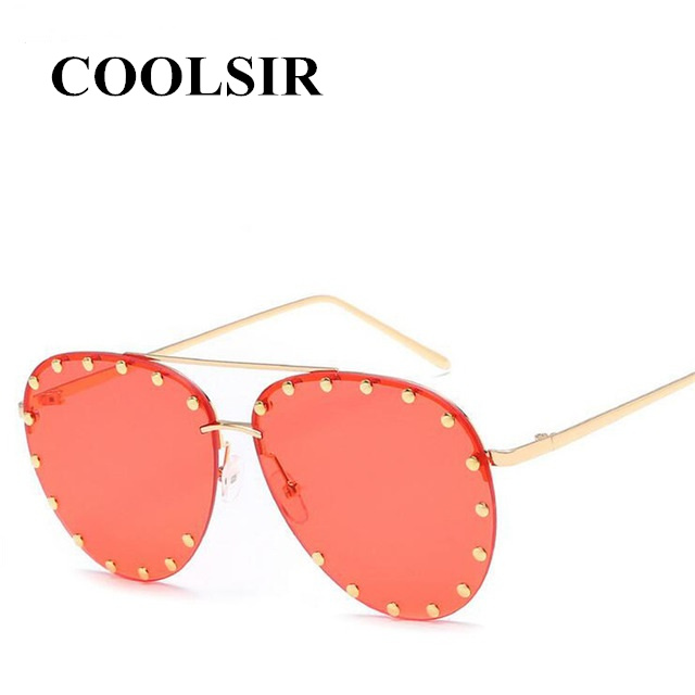 COOLSIR Nail Decoration Women Rimless Pilot Sunglasses Brand Designer Fashion Ladies Gradient/Tinted Punk Style Glasses