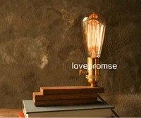 Industril rh 로프트 빈티지 스타일 장식 책상 라이트 솔리드 우드 디머 테이블 램프 연구 램프 커피 숍 스토어 레스토랑