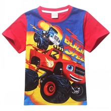 EMS/DHL Free shipping 2015 2Colors Blaze Monster Machines Boys T-shirt Cotton Short sleeved T-shirt Wholesale For Children