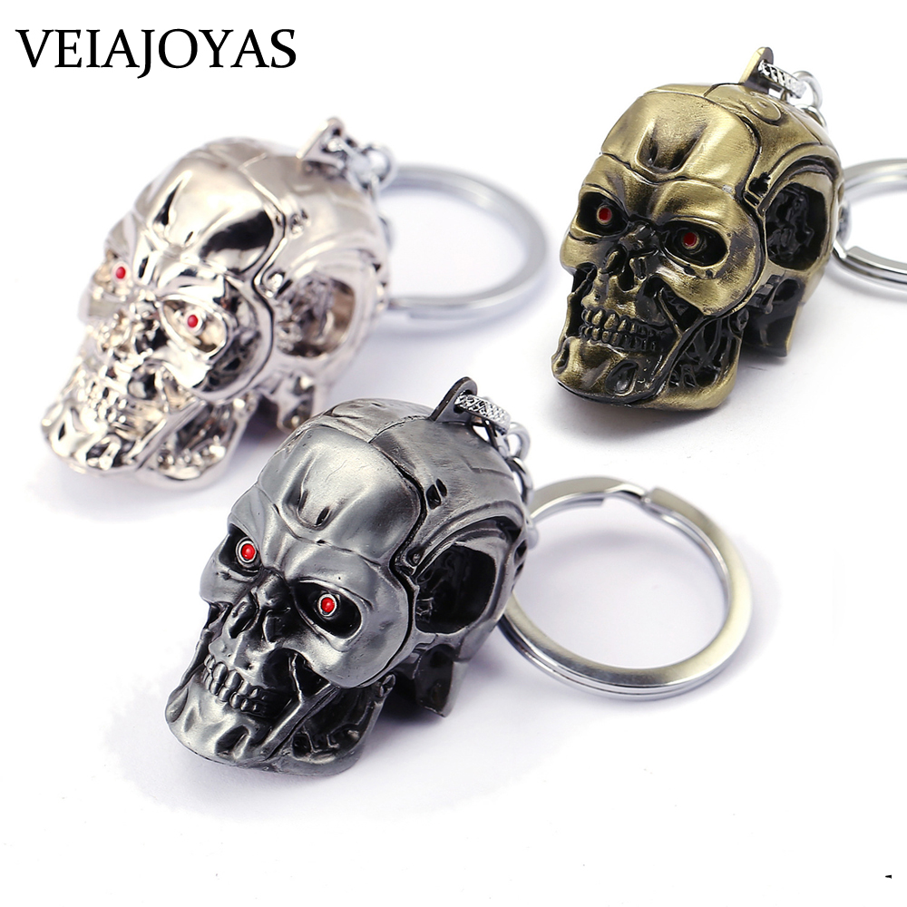 Motorcycles Keyring Movie Terminator 3D Skull Head Alloy Keychain Charms Men's Keychains Ghostface Jewelry Accessories Wholesale image