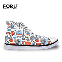 FORUDESIGNS Nursing   Shoes   Women Classic High Top   Vulcanized     Shoes   Comfortable Breathable Canvas Flats Sneakers   Shoes   Woman 2018