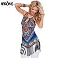Nuevo 2017 Mujeres Camis Correa de Espagueti Atractiva de Boho Tribal Print Camisa Delgada Más El Tamaño de Las Señoras Del Verano Tops Blusa 40458