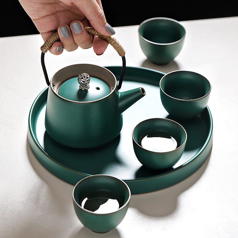 6PCS/Set Ceramic Kung Fu Tea Set Tea Tray Teapot 4PCS Tea Cup Chinese Gift High End Chinese Tea Drinkware
