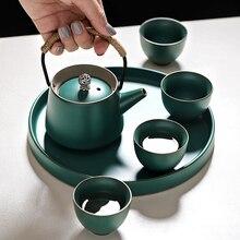 6PCS/Set Ceramic Kung Fu Tea Set Tray Teapot 4PCS Cup Chinese Gift High End Drinkware