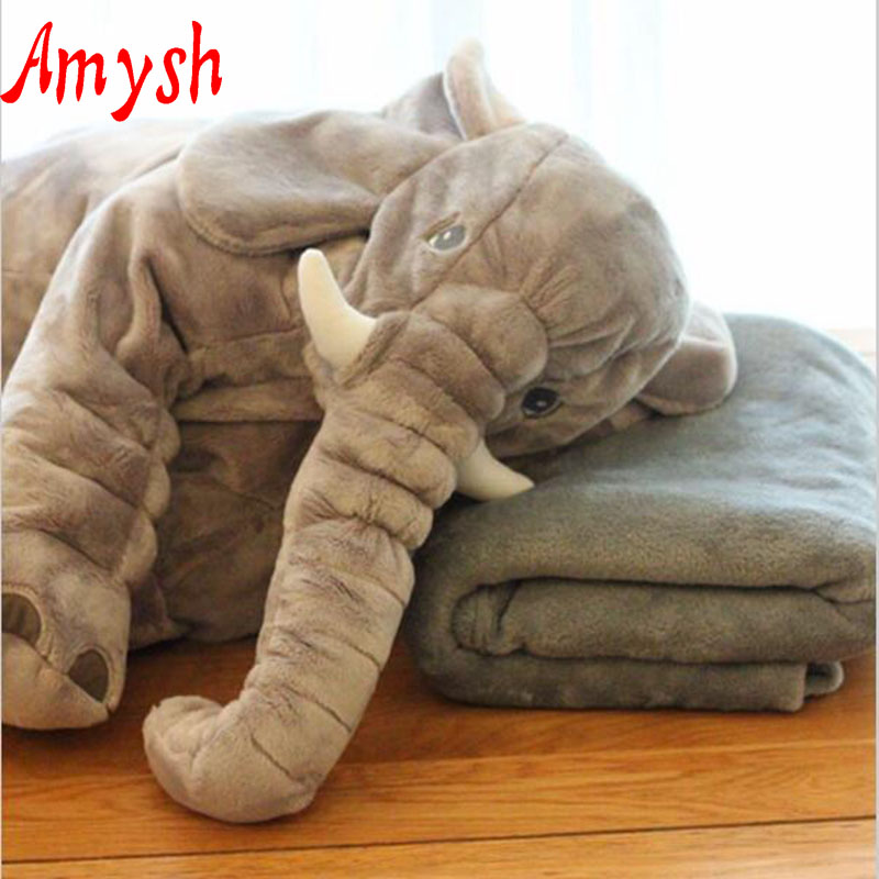 Amysh HOT 60cm Infant Soft Appease Elephant +blanket Playmate Calm Doll Baby Toys Pillow Plush Toys Stuffed Doll gifts for kids bookfong drop shipping 40cm infant soft appease elephant pillow baby sleep toys room decoration plush toys for kids