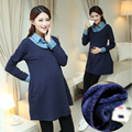 maternity clothes patchwork dark blue dresses pregnant turn down collar long sleeve dress woman casual thick fleece clothing