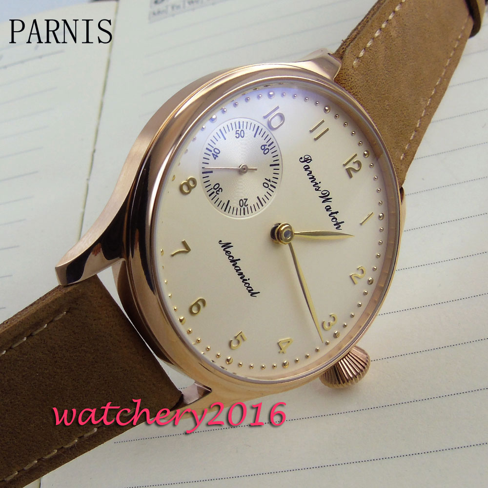 цена new 44mm parnis yellow dial rose golden case 6497 Hand Winding movement Men's WristWatch онлайн в 2017 году