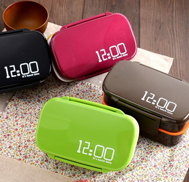 Creative It s lunch time 1410ml Double Layer Plastic Food Container Microwave oven Large Capacity Lunch