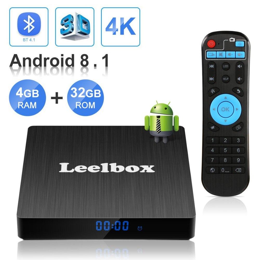 Leelbox Android 8.1 Smart TV BOX RK3229 4G DDR3 32G EMMC ROM décodeur 4K 3D H.265 Wifi lecteur multimédia TV récepteur play store