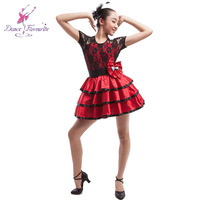 Women Stage Performance Dance Costume Lady Ballet Tutu Ballet Dress For Stage Black Red Dance Costume