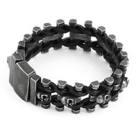 Skull Genuine Leather Stainless Steel Men Bracelet Wrap Wristband For Men Classic Bracelet Men Bracelets For