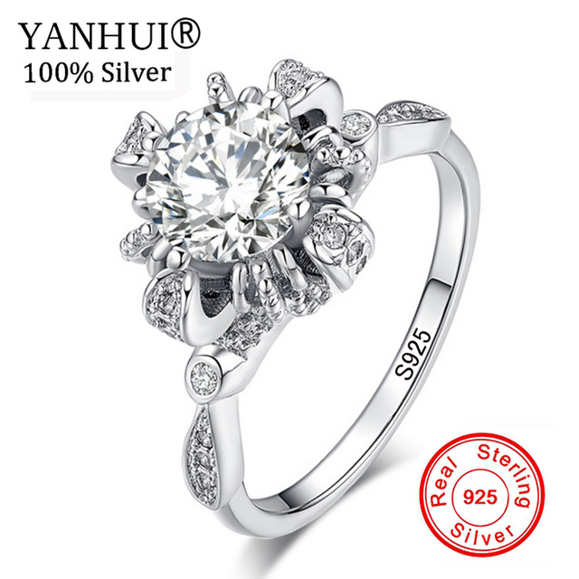 100% Solid 925 Sterling Silver Rings Flowers Pattern With Cubic Zirconia Vintage Style Women Wedding Jewelry Gift Ideas JR049