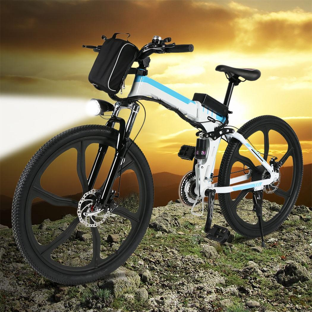 ANCHEER Foldable Electric Powe Mountain Bicycle Folding Bicicleta Bike Outdoor Camping Standard Padded Front 36V 250W