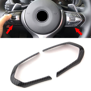 1pair Brand New And High Quality Carbon Fiber Style ABS Steering Wheel Frame Trim For BMW M3 M4 M5 New 1 3 series X5M image