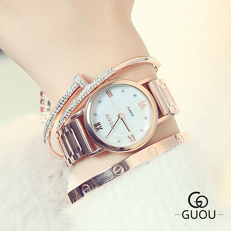 GUOU Rose Gold Watch Women Dress Montre Homme Marque De Luxe In Acciaio Inox Back Water Resistant Orologio Relogio Feminino HodinkyGUOU Rose Gold Watch Women Dress Montre Homme Marque De Luxe In Acciaio Inox Back Water Resistant Orologio Relogio Feminino Hodinky