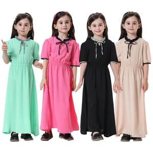2020 Islamic girls clothing beauty kids kaftan muslim dress arab malay turkey children's long dress